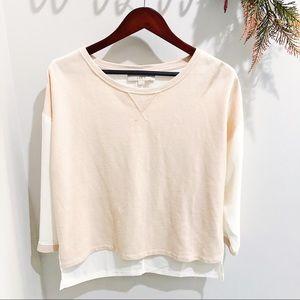 LOFT   Ann Taylor Pink & Cream Sweater sz M ✨